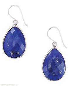 Like deep twilight #blue, these drops are awe-inspiring. #Lapis, #Cubic #Zirconia, #Sterling #Silver. #Silpada #Jewelry #Earrings