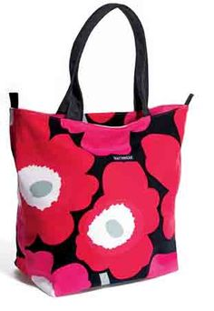 The Finnish design company Marimekko was popular in the and for cheerful and simple designs. I was so happy to find their pink poppies reborn in a jaunty tote for breast cancer. Marimekko Bag, Fashion Deals, Women's Fashion, Cute Bags, Best Face Products, Breast Cancer Awareness, Canvas Tote Bags, Avon, Diaper Bag