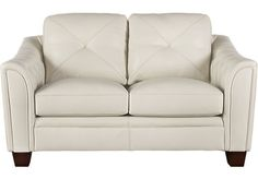 Cindy Crawford Home Marcella Ivory Leather Loveseat