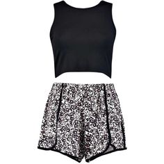 Lexi Floral Crop And Shorts Set ($7.18) ❤ liked on Polyvore featuring dresses and outfits