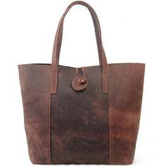 Vintage Cow Leather Tote Handbag Shoulder Bag