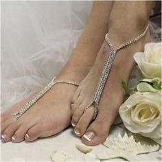 barefoot sandals - foot jewelry - wedding - beach - pearls - woman