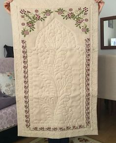 This Pin was discovered by gul Islamic Prayer, Prayer Rug, Cross Stitching, Prayers, Quilts, Blanket, 1940s, Sew Baby, Towels