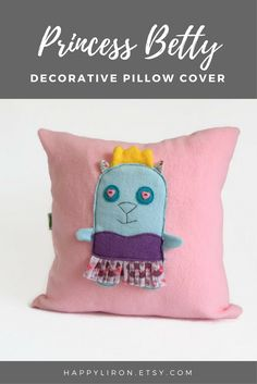 A cute gift idea for girls. Nice for the nursery on the bed. Princess Cat Pink Throw Pillow, Pink Nursery Decorative Pillow, Baby / Kids Room Decor, Baby shower gift, Kids Cute Fun Throw Pillow Cover