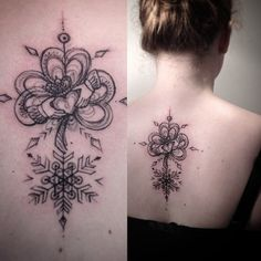 Delicate and elegant back tattoo by Aygul with a claddagh and a shamrock.