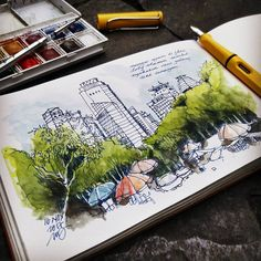 edwinreinaldo (@edwinrei04) в Instagram: «view gedung perkantoran scbd, Sudirman central business district,Jakarta. #aquarell #art #painting #watercolor #watercolour #sketch  #paint  #drawing #sketching #sketchbook #travelbook #archisketchery #sketchaday #sketchwalkerг #sketchcollector  #traveldiary #topcreator #usk  #urbansketch #urbansketchers #скетчбук #скетч #скетчинг #pleinair #aquarelle #watercolorsketch #usk #architecture #painting #illustration