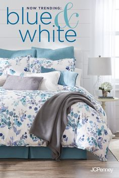 Tap to shop! // Get into something new, something blue. Create a space to soothe with classic home decor. From periwinkle and navy to aqua and sky, blue says calm, fresh and pretty, however you play it. Pair different hues and anchor the look with neutral gray or oatmeal for an instant statement. Bedding florals and textured pillows bring Spring home decor to a bedroom you can't wait to come home to.