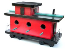 birdhouse, caboose, folk art vibe, wood, red, black, mint, teal, unique and fun bird house for bird lovers or train lovers