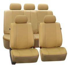 FH Group Beige Deluxe Faux Leather Airbag Compatible And Split Bench Car Seat Covers Full