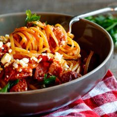 Perfect weeknight food. Chorizo and bacon in a rich tomato sauce served over pasta.