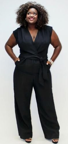 "How sexy is this ""Bianca"" V-Neck Wide Leg Jumpsuit by plus size designer Dama Talya?"