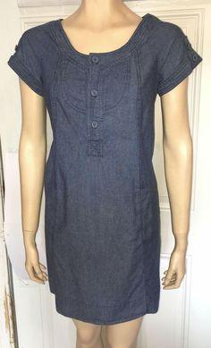 Kimchi Blue Urban Outfitters chambray blue jean denim dress boho casual Sz M #KimchiBlue #Casual