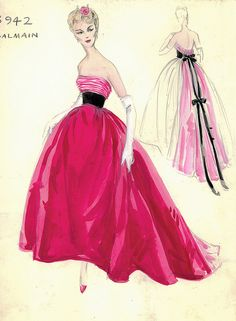 Balmain Haute Couture fashion illustration. Strapless evening ball gown in rose red and pink, beautifully gather at the bust with a long black waist sash tied that sew with bow and drape beautifully with the pink flowing train at the back of the dress. Includes back views in pencil and watercolor. Bergdorf Goodman 1950s #Collection #Balmain #Fashion