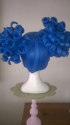 Blue foam girly wig made by Lady Mallemour