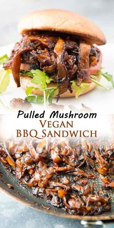 This VEGAN pulled shiitake MUSHROOM BBQ SANDWICH is for all you mushroom lovers! It has the perfect meaty and chewy texture, is dripping with thick and sticky BBQ sauce, and is a great quick and easy meal to whip up for a crowd! #vegansandwiches #easyveganrecipes