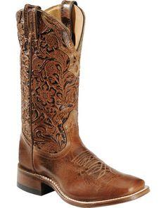 Boulet Hand Tooled Calf Cowgirl Boots - Square Toe, Tan, hi-res Justin Boots, Cowboy Boots Women, Western Boots, Western Wear, Rodeo Boots, Western Chic, Cowboy Hats, Wedding Boots, Wedding Dress