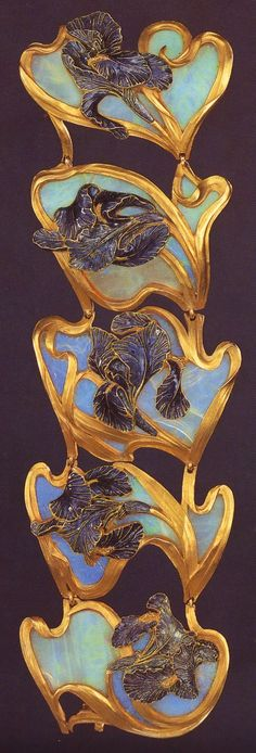 Jewelry as a magnificent dream. Lalique signed 'Irises' Bracelet in 5 sections: each section is a purplish-blue champlevé enamel & gold iris on a carved opal background: the flower's gold stem rims the shaded panel. Lalique Jewelry, Enamel Jewelry, Opal Jewelry, Jewelry Art, Vintage Jewelry, Jewelry Design, Gold Jewelry, Hanging Jewelry, Bijoux Art Nouveau