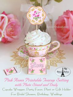 See all of our teacup and saucer sets in our shop under Printable Party Supplies.   ****OUR LATEST TEACUP DESIGNS NOW HAVE A BOTTOM, JUST LIKE A