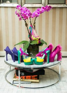 Fashionista Theme Designer centerpieces - get creative and be YOU June Ambrose, The Coveteur, What Is Hot, Jeweled Shoes, Diy Centerpieces, Decorations, Glam Room, Pony Hair, Crazy Shoes