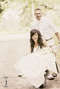 I love wheel barrows! How fun is this?!?! At my wedding this is gonna happen! :)