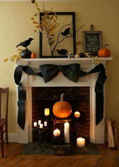 Halloween fireplace display