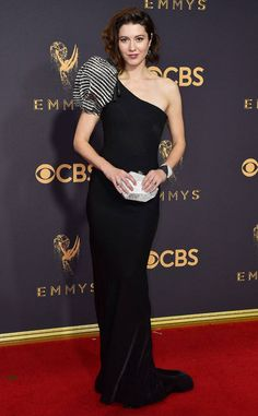 Red carpet style: Best and worst dressed lists at the 2017 Emmy Awards | Mary Elizabeth Winstead in black puff one-shoulder gown | The Luxe Lookbook
