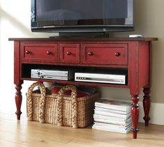 Leena Media Console | Pottery Barn.  Love this distressed red color!