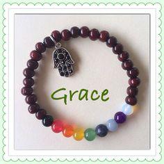 Unisex Seven Chakra Energy Balancing Stretch Bracelet with Hamsa Hand Charm for Meditation Yoga