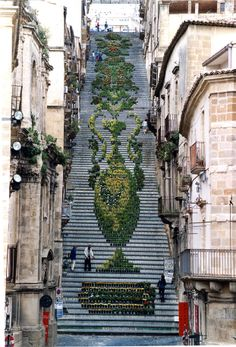 Thousands of potted plants form these impressive sculptures on stairs in Sicily. Photo credit: Andrea Annaloro