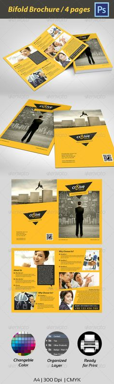 Multipurpose Corporate Brochure - Corporate Brochures-This brochure caught my eye right from the start. The contrasting colors make it stand out. I like the shapes used for the pictures it goes with the overall feel and theme of the brochure. It uses repeating fonts. The alignment is well-done, nothing is centered.