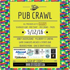 10 days til our Pub Crawl!! Now is the time to get your tickets. $20 gets you a drink at each stop & a Tshirt! All proceeds go to @dentonanimals. #PubCrawl #dentonslacker #dentonanimalsupportfoundation #dasf #denton #dentoning #unt #twu #nctc #dentontx #lilD #dentonite #discoverdenton #wedentondoit #wddi #dentonsquare #den10 #onlyindenton