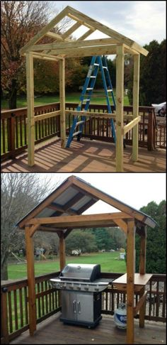 your own backyard grill gazebo! Delight in Manning The Grill by Building a DIY Grill Gazebo in Your Backyard!Delight in Manning The Grill by Building a DIY Grill Gazebo in Your Backyard! Grill Gazebo, Backyard Gazebo, Backyard Landscaping, Diy Gazebo, Porch Gazebo, Front Porch, Grill Diy, Patio Plan, Patio Ideas