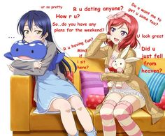 Ahh.... the ship is real for me cause I ship two of them but in this Maki is trying to talk but UMI is ignoring her which is ... wow
