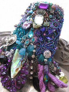 Cool Mystique Gypsy Jangle Bracelet, Heavily Beaded, Jeweled, Purple, Blue, Green, Black, Silver, Bohemian Jewelry. $295.00, via Etsy.