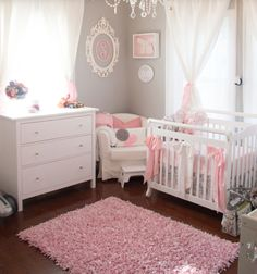 Love all the pink accents in this room. Need to look for a comfy pink or gray rug for a good price.