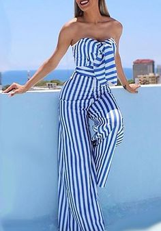 Striped Sweetheart Knotted Front Tube Jumpsuit dresses and accessories all over the world at competitive prices, and with a high level of customer care. Summer Outfits, Casual Outfits, Cute Outfits, Vetement Fashion, Mode Chic, Long Jumpsuits, Ideias Fashion, Fashion Dresses, Fashion Tips