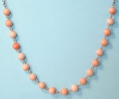 ANTIQUE/ ESTATE, EDWARDIAN SILVER AND ANGEL SKIN CORAL BEAD NECKLACE   eBay