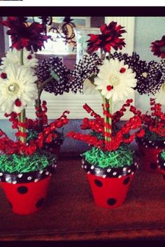 Ladybug centerpieces from my daughters 1st birthday party