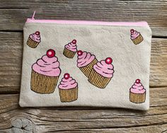 Hand Painted Cupcakes Zipper Pouch Natural Linen and Cotton
