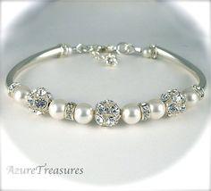 Pearl Bridal Bracelet Pearl Bracelet Pearl and by AzureTreasures, $48.00