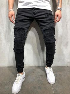 Check us Out! Free US Shipping on orders of $100 or more! Streetwear Jeans, Streetwear Fashion, Fresh Outfits, Dope Outfits, Ribbed Jeans, Estilo Street, Vintage Street Fashion, Joggers Outfit, Outfits Hombre