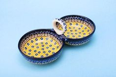 "CA942-859 Sunburst - Double Serving Bowl (5"" x 10"" x 4"") Hand painted Polish…"