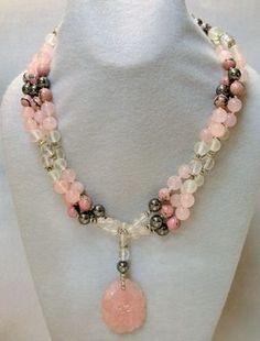 VINTAGE handmade BEAD NECKLACE Sorbet- Chinese Rose Quartz,Crystal | EurekaEureka - Jewelry on ArtFire
