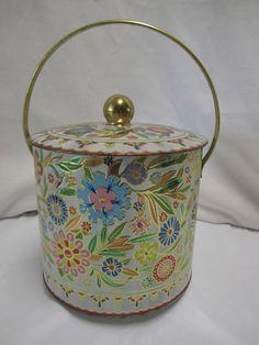 Vintage Daher England Decorative Tin Retro Mod Floral Bucket Style Tin with Lid
