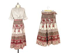 Vintage Indian Wrap Skirt, India Cotton Skirt, Long Block Print Skirt, Elephants & Camels Floral Print, Boho Skirt -- Womens S / M / L by ImprovGoods on Etsy