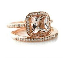 rose gold wedding ring set - Etsy:  RareEarth