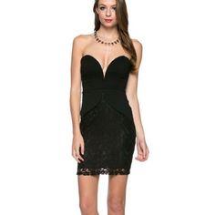 """Bounty Hunter"""""""" Bustier Lace Little Black Dress"""