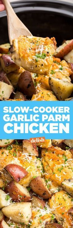 This slow-cooker garlic parmesan chicken is one of our best dinners ever. Get the recipe on http://Delish.com.