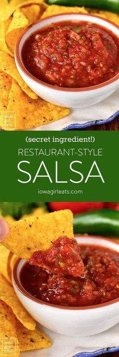Restaurant-Style Salsa is a CINCH to make at home, plus it's much cheaper then buying. Learn the ingredient I use to make it taste just like a restaurant's. Never has a statement quite spoken to my s Jalapeno Salsa, Spicy Salsa, Restaurant Style Salsa, Easy Restaurant, Healthy Snacks, Healthy Eating, Healthy Recipes, Dip Recipes, Vegetarian Recipes