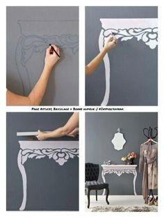 wall painted table with floating shelf. This would be great in a closet for jewelery or as a night stand!